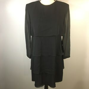 Kay Unger Evening 100% Silk Tiered Crystal Dress 4